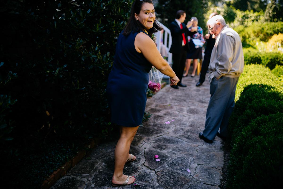 throwing flower petals wedding ceremony craik patton house wv