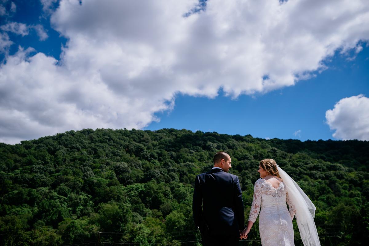 bride groom portrait jq dickinson saltworks wedding wv mountains
