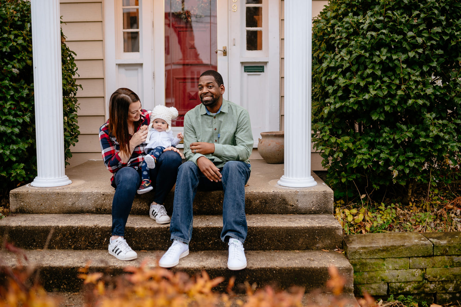 holiday family photos sitting on stoop