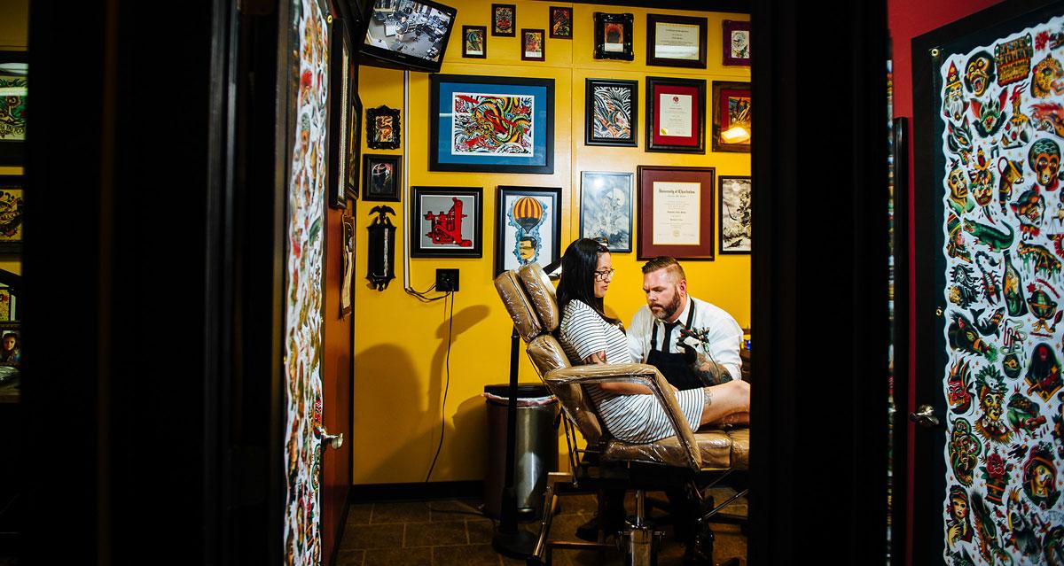 tattoo shop engagement photos black eagle tattoo nick quinn