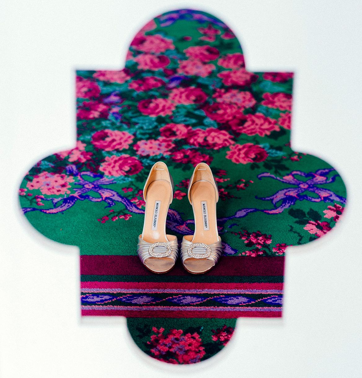 creative wedding detail brides shoes at greenbrier resort
