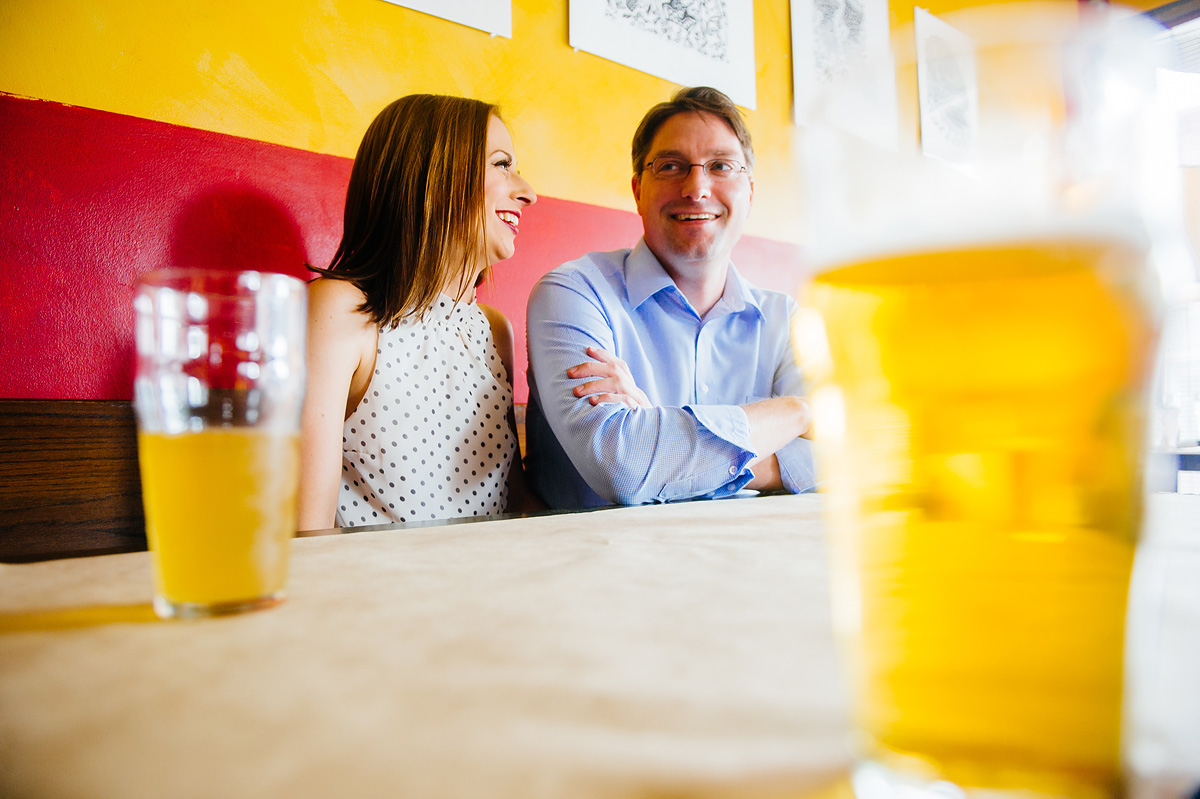 engagement photos at a bar by the oberports