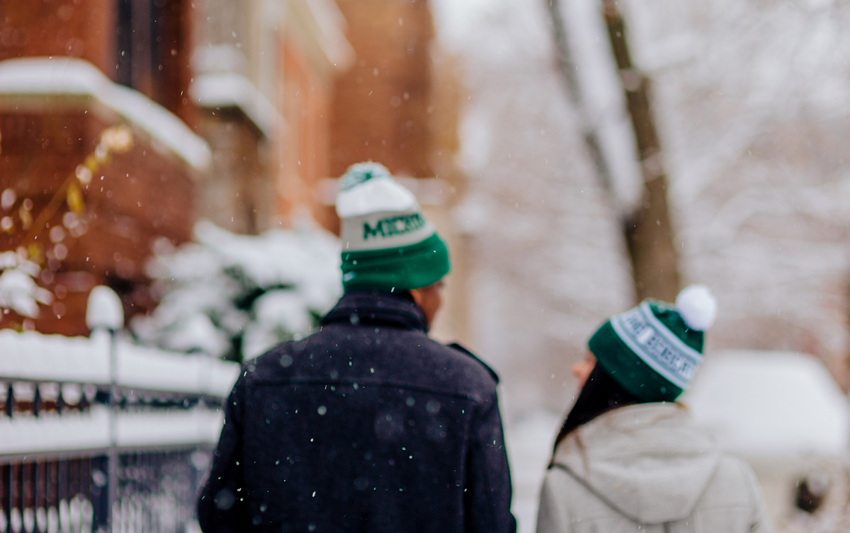 engagement photos during snowstorm