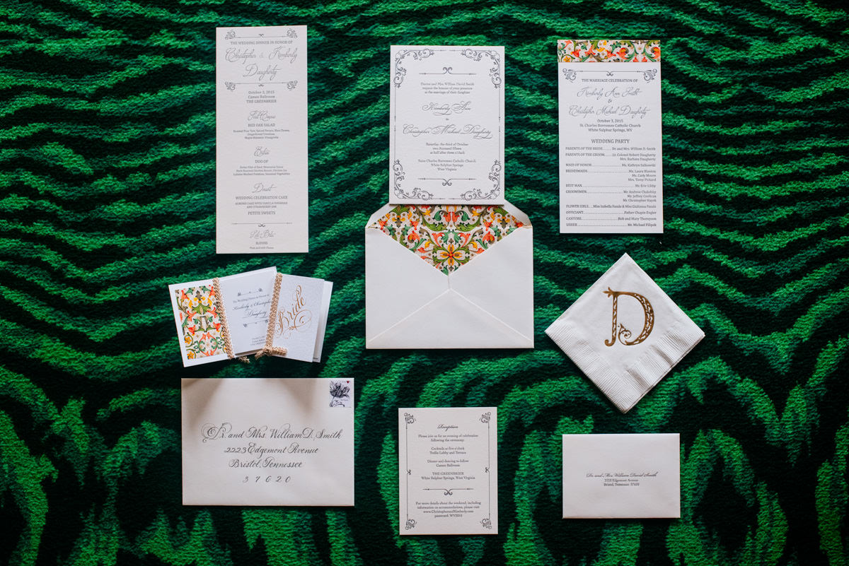 greenbrier resort west virginia wedding stationery
