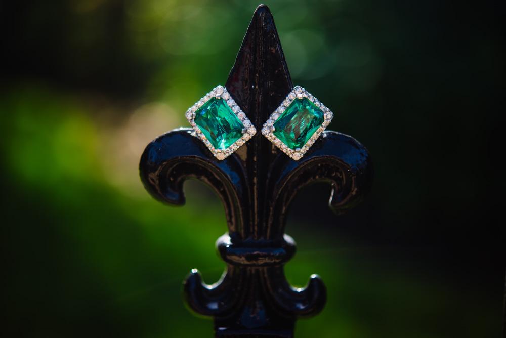 intage Jomaz Emerald Rhinestone Earrings from Ruby Lane