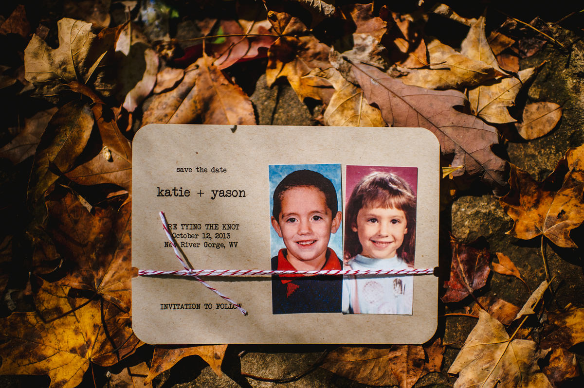 save the date using childhood photos