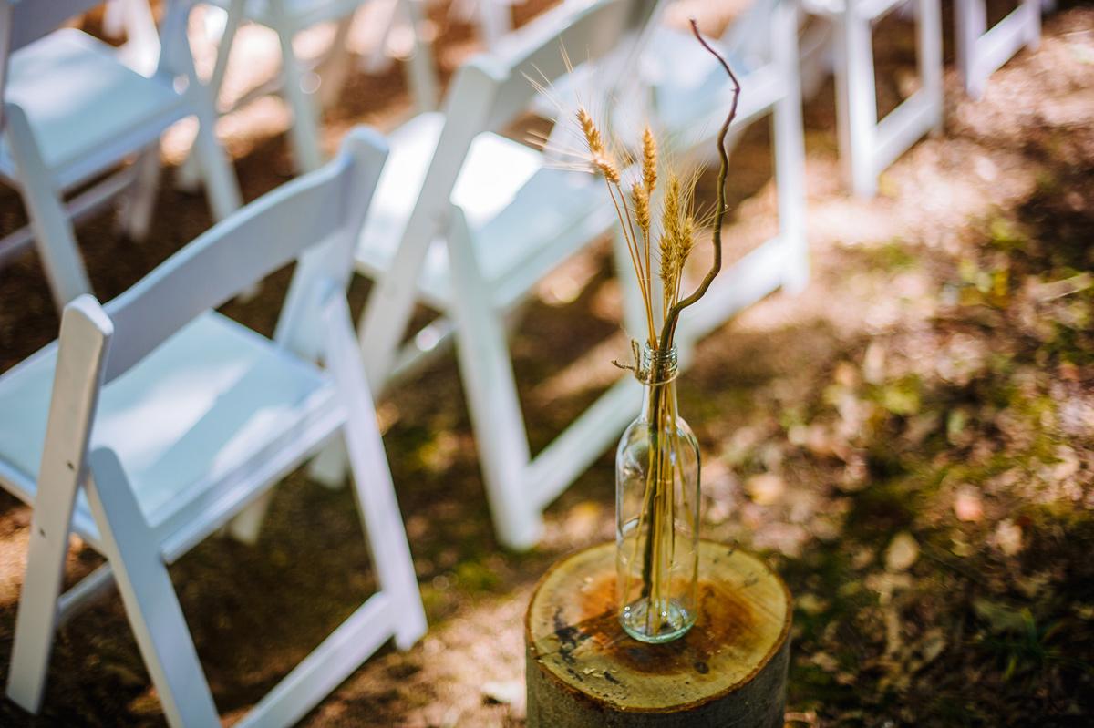 wheat in jar wedding decor