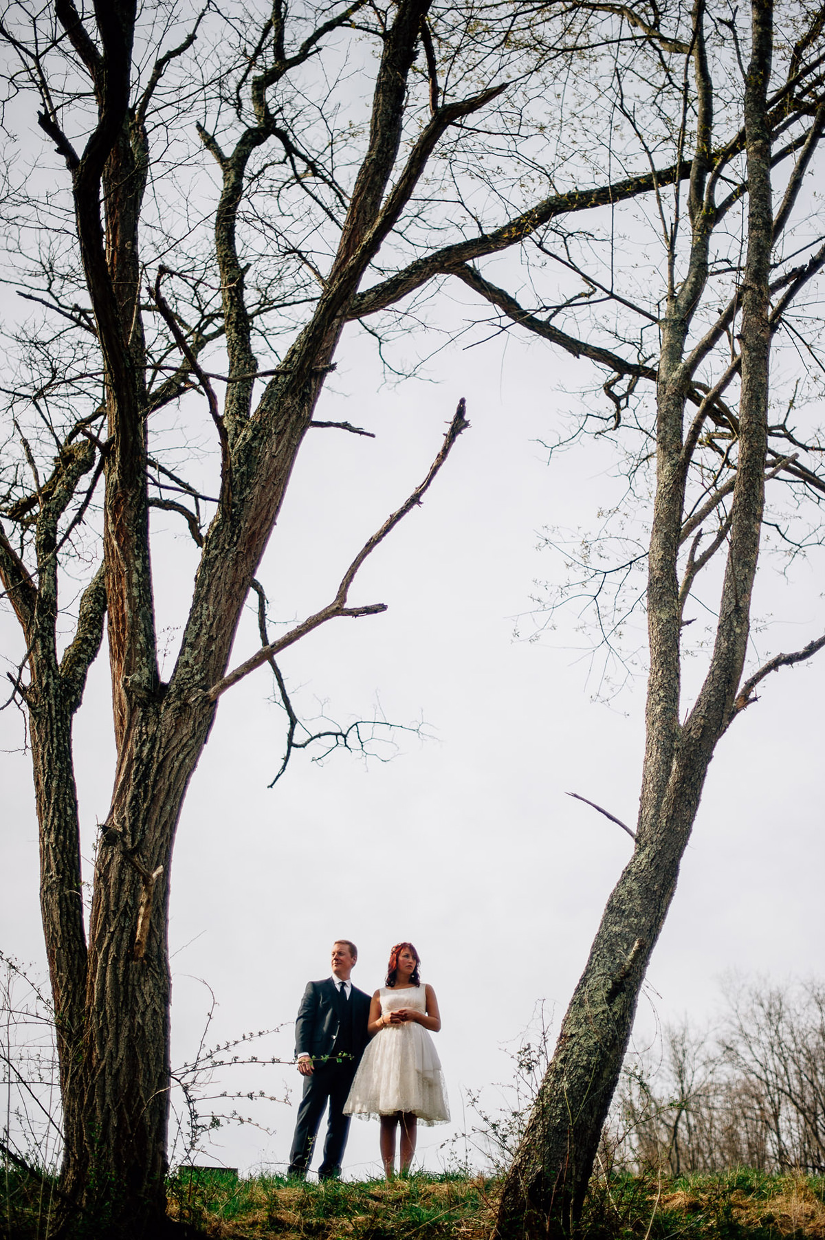 artistic wedding portraits in early spring