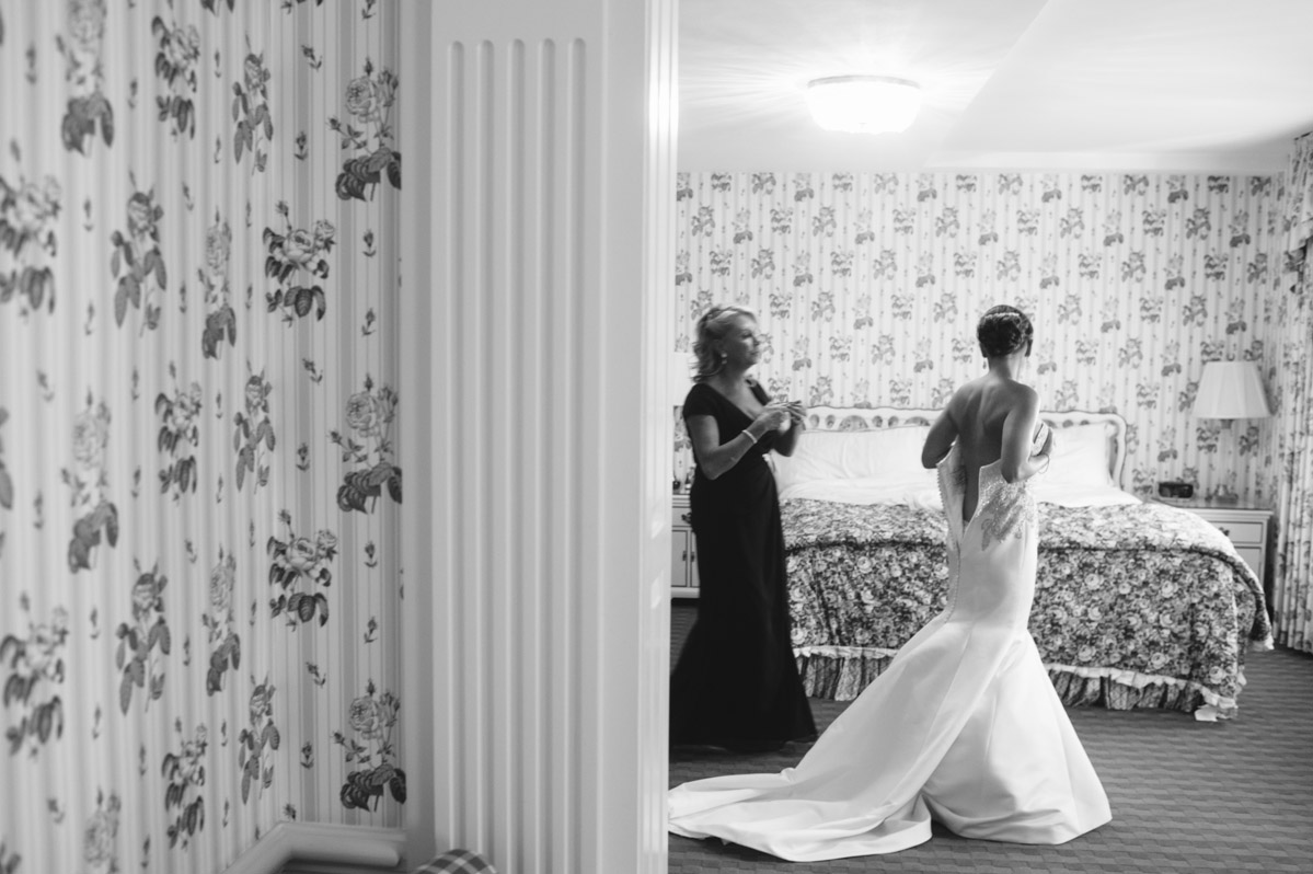 bride getting ready with mother at greenbrier resort wedding wv west virginia