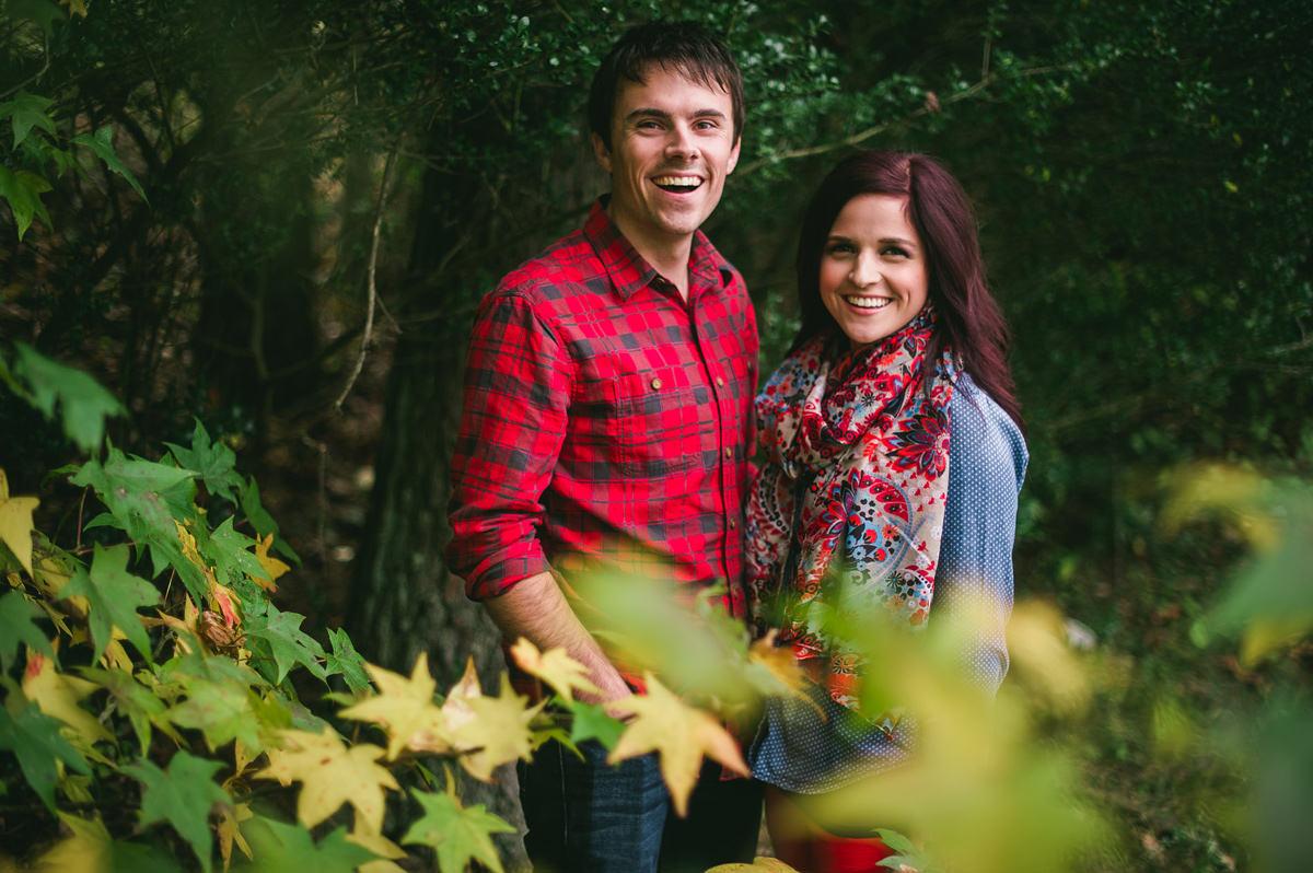 maple leaves autumn engagement photos