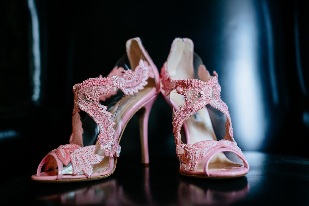 oscar de la renta pink ambria beaded sandal bridal shoes