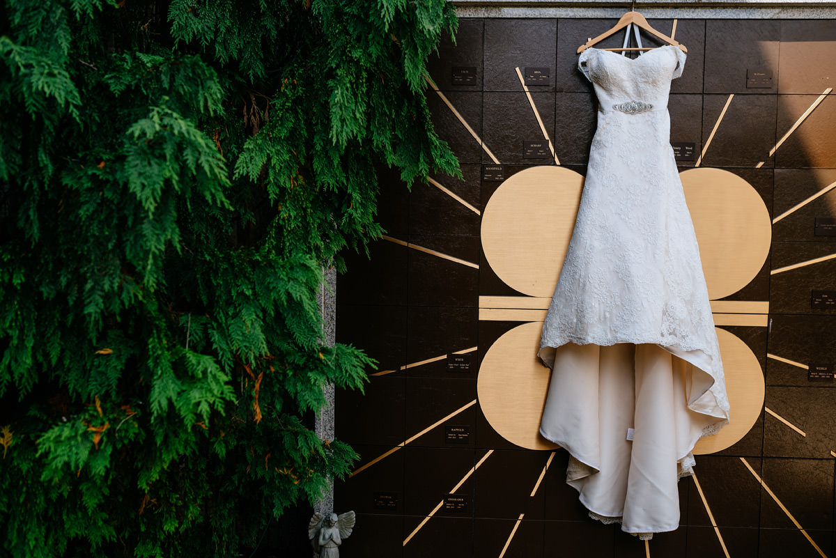 wedding dress hanging at blessed sacrament wv