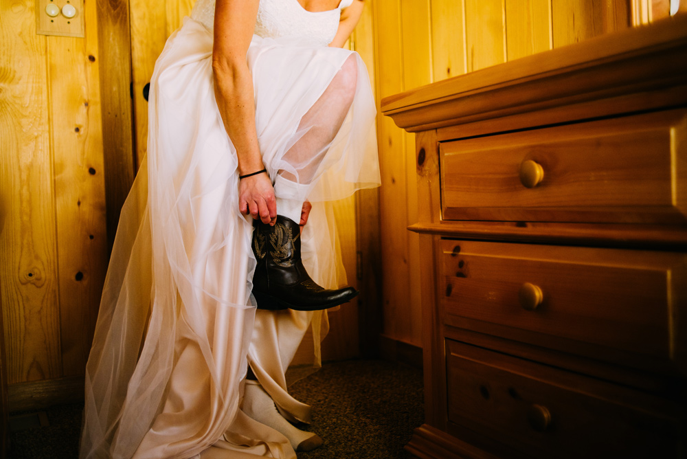 bride getting ready alone elopement