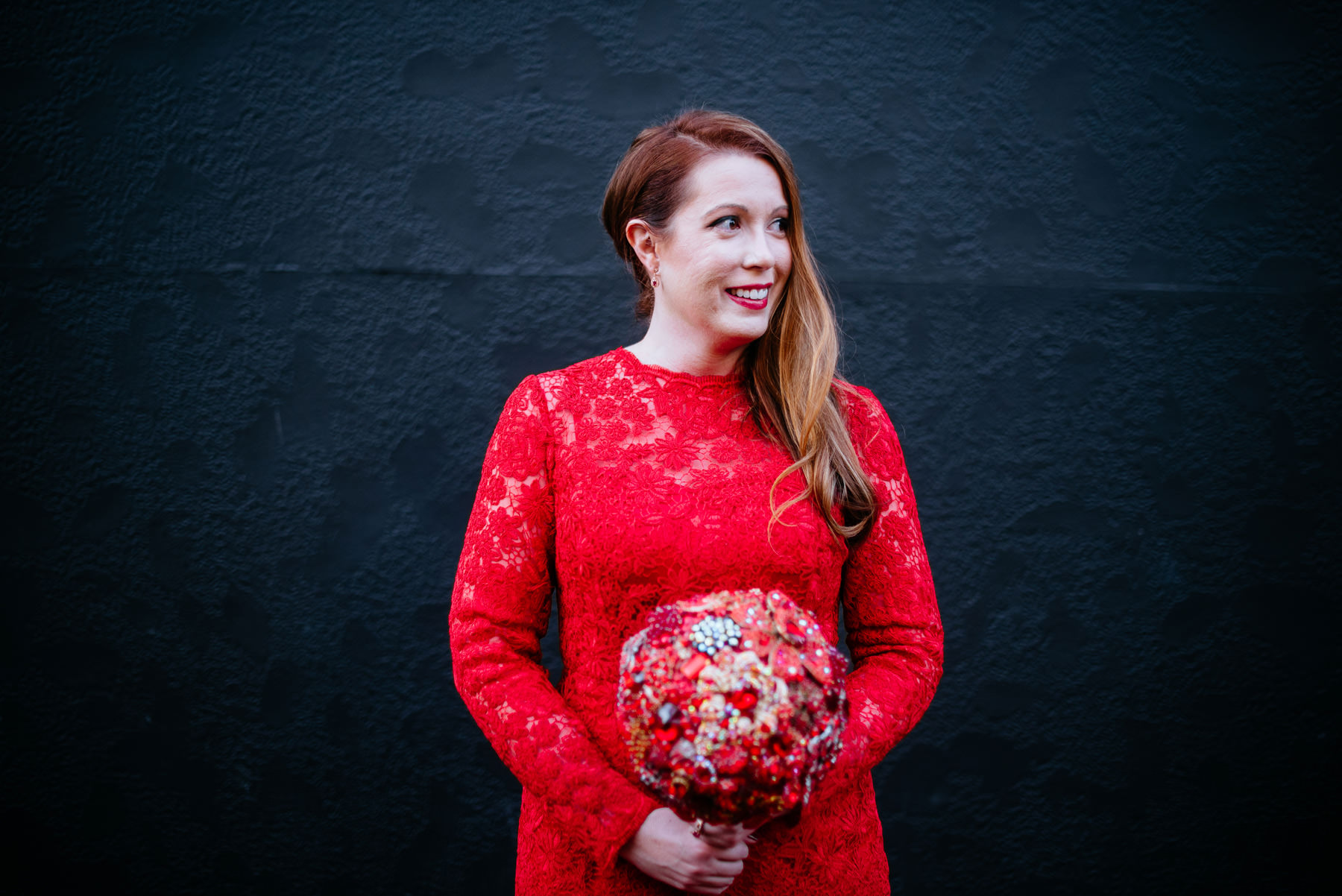 wv bride in red lace wedding dress
