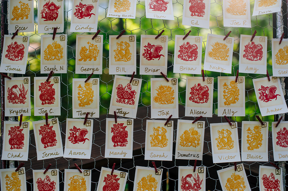 chinese lettering escort cards