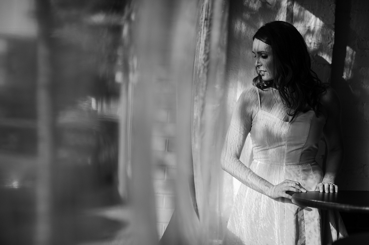 creative use of natural light arlington virginia dc black and white engagement portrait