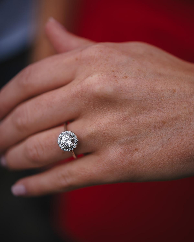 diamond halo engagement ring proposal photos