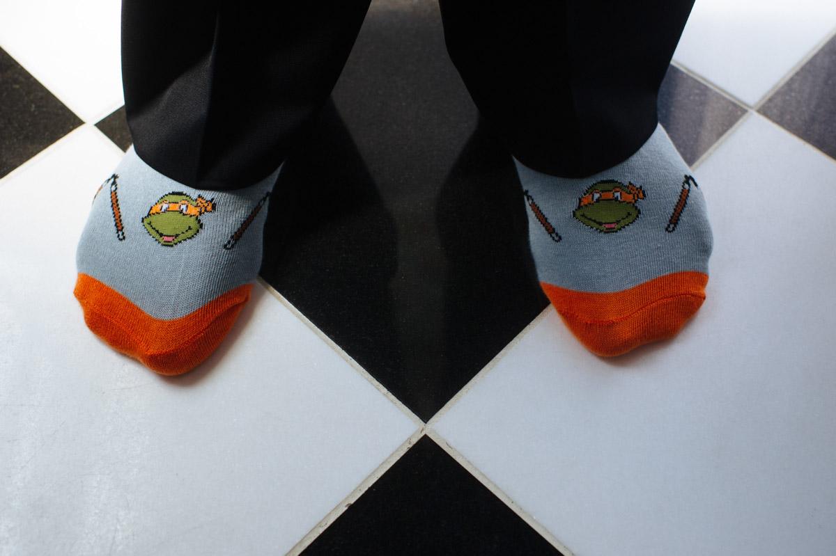 ninja turtle wedding socks groom