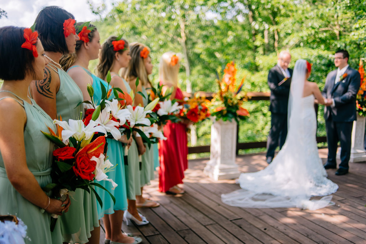 tropical themed adventures on the gorge fayetteveille wv wedding ceremony