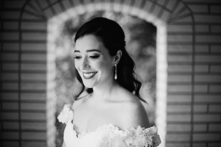 black and white bridal photo