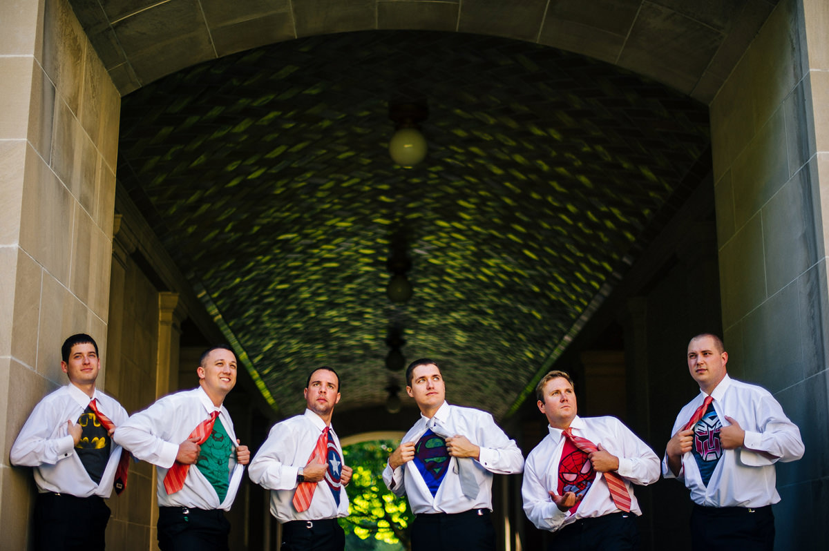 groomsmen in superhero tshirts
