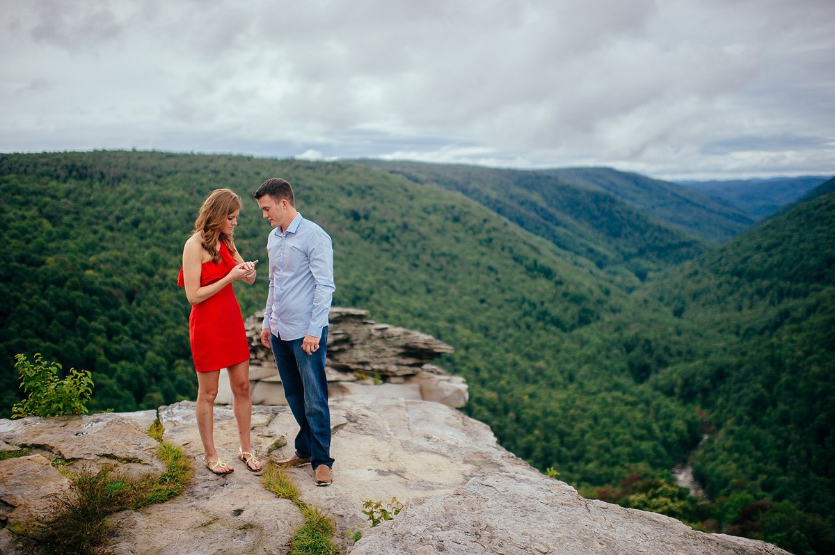 proposal pictures at blackwater falls lindy point overlook by pittsburgh photographers the oberports1
