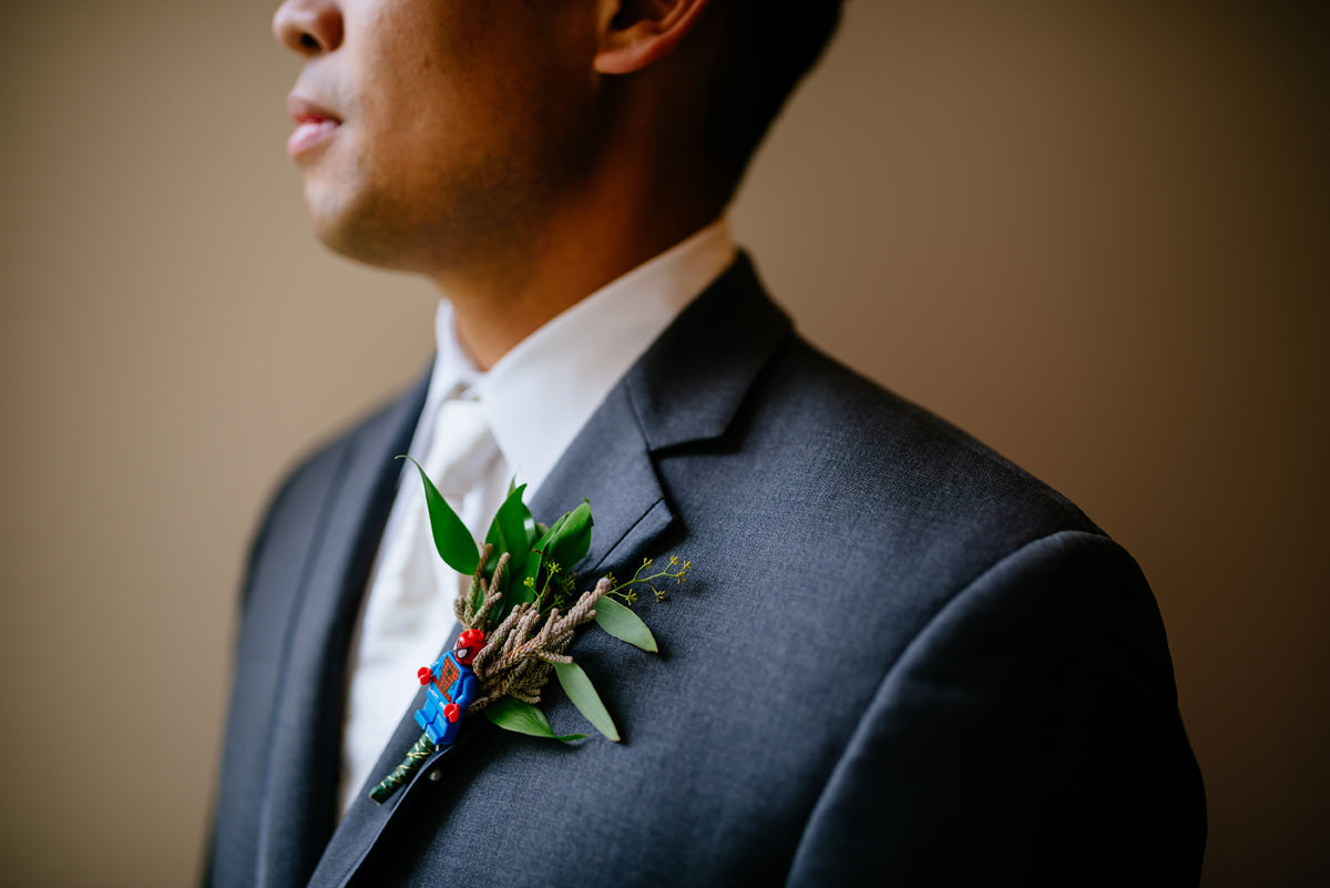 spiderman lego groom boutonniere