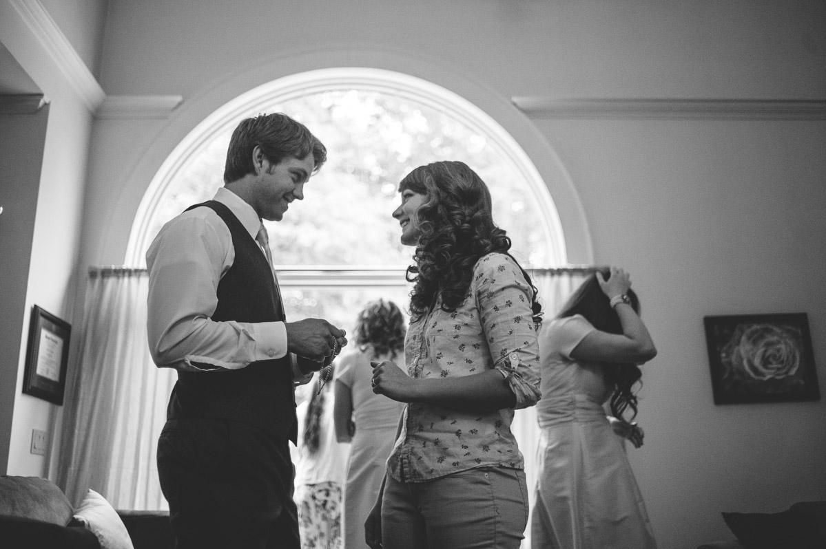 bride groom seeing each other wedding day