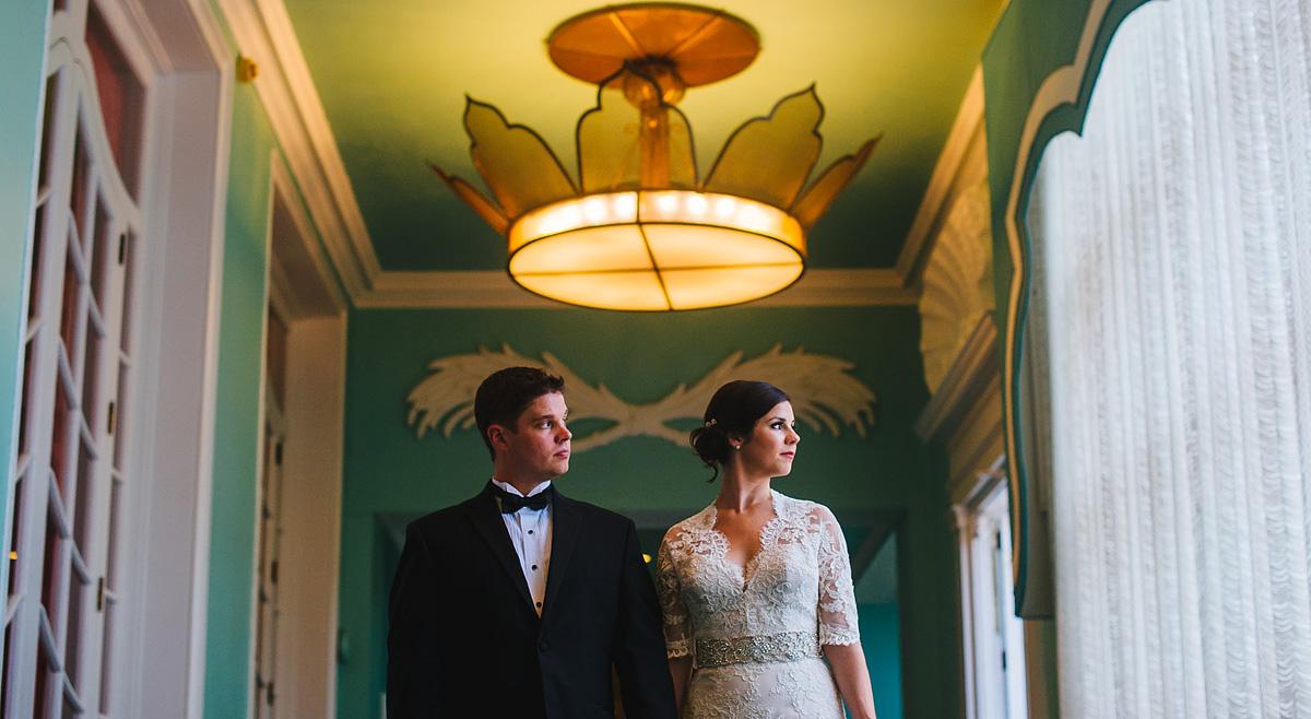 greenbrier resort wedding creative bride and groom portrait hallway 2