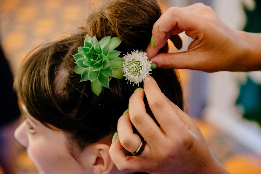 succulents in brides hair