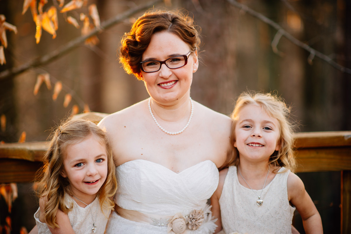 bride with her daughters