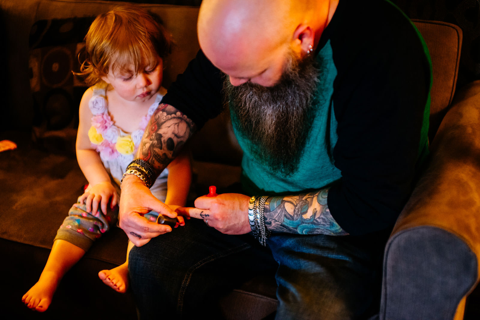 brides daughter getting nails painted wedding moments