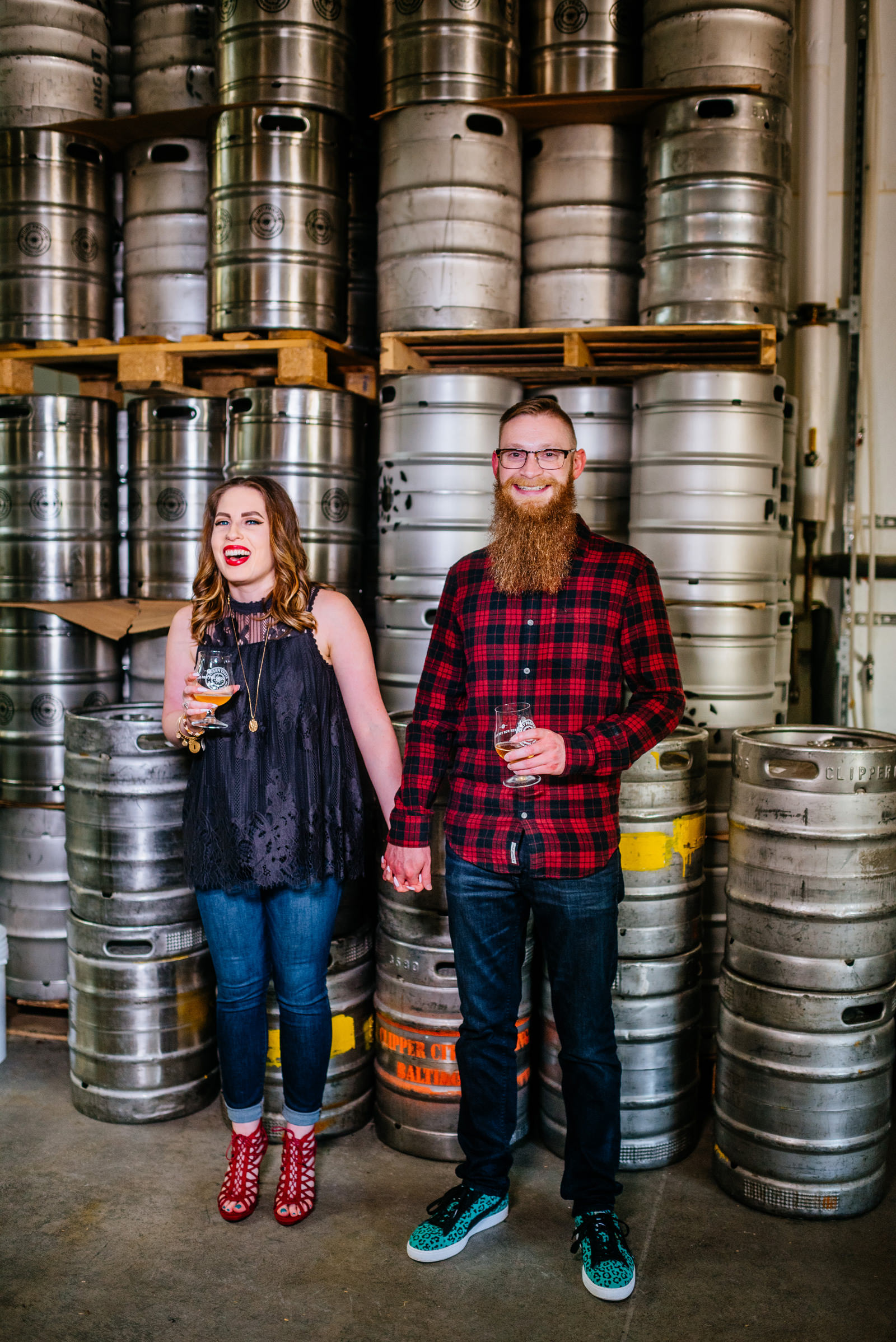 engagement photos in brewery