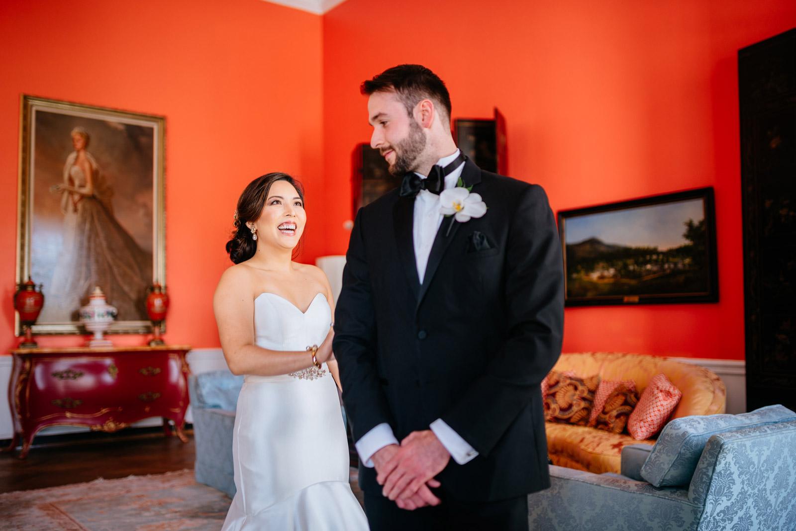 first look greenbrier chapel wedding