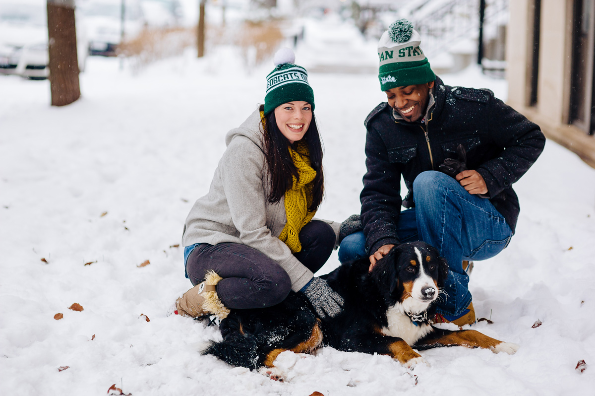 snowy engagement pics with bernese mountain doc in chicago lincoln park