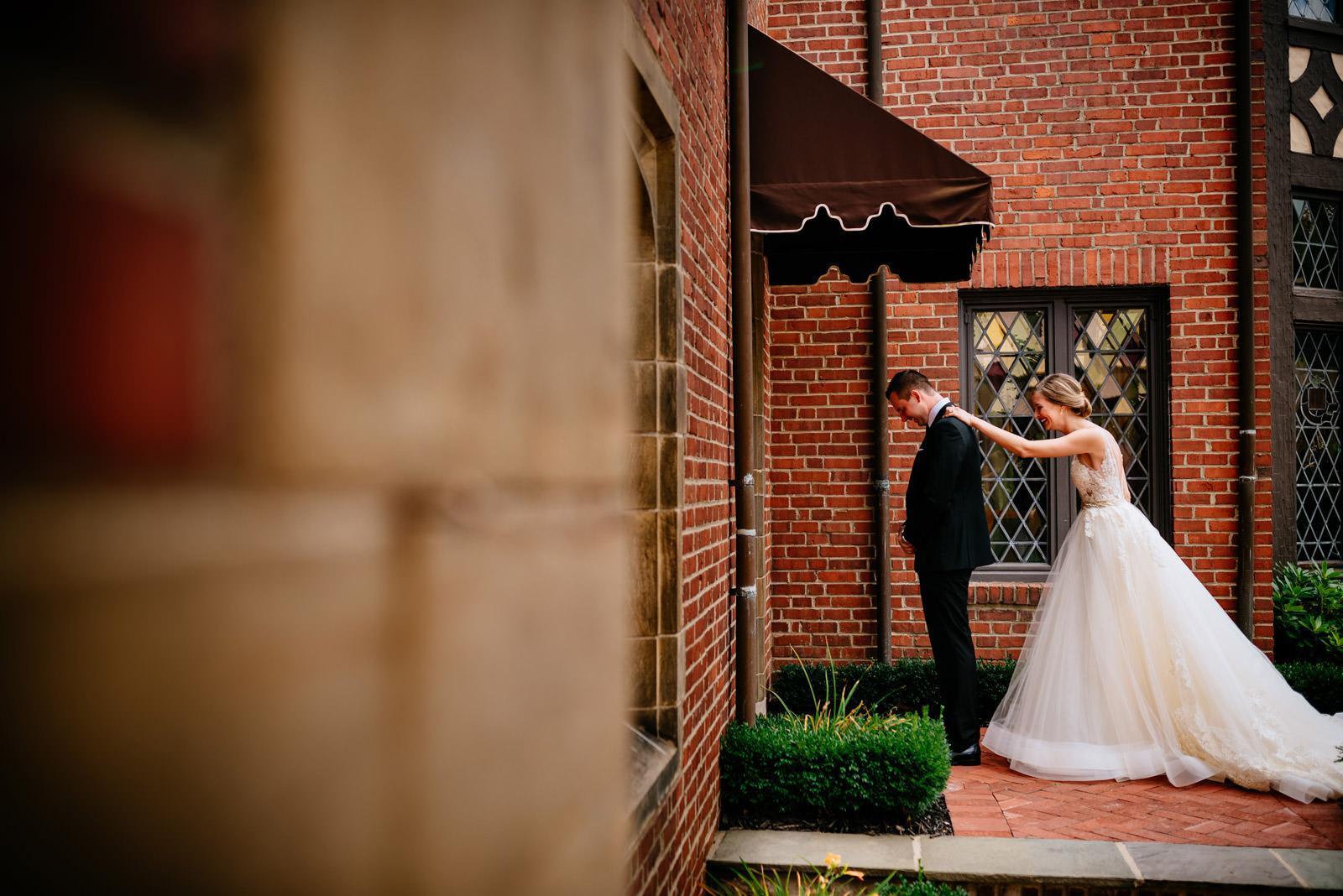 bride groom first look zenner house wedding athens ohio