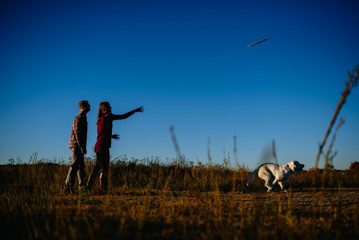 charleston wv engagement with dog fetch