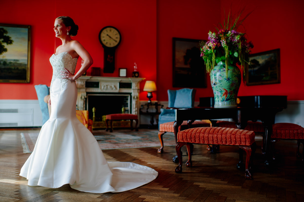 elegant colorful bridal portraits in the grace kelly room at the greenbrier resort west virginia wedding