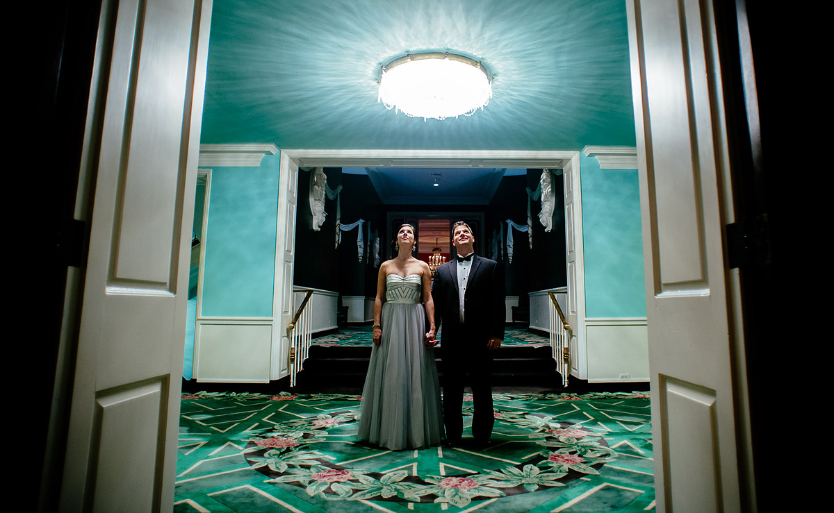 greenbrier resort wedding creative bride and groom portrait hallway