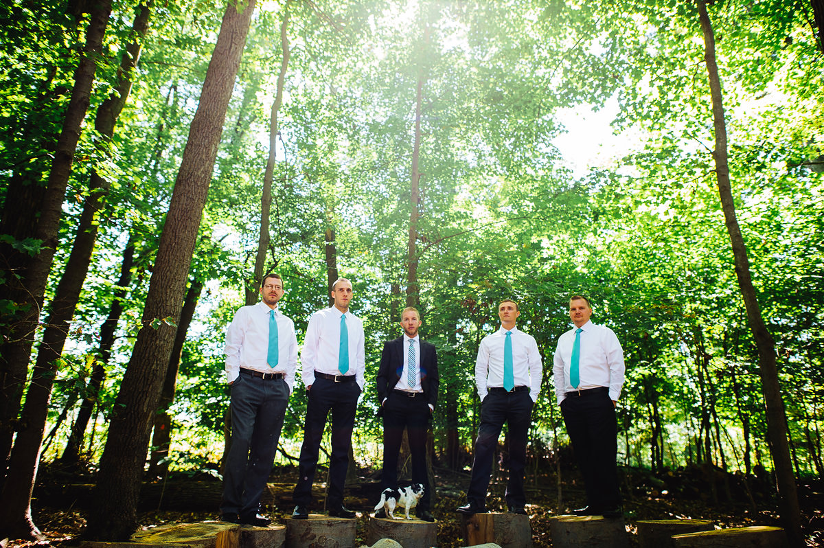groomsmen portrait in woods with chihuaha