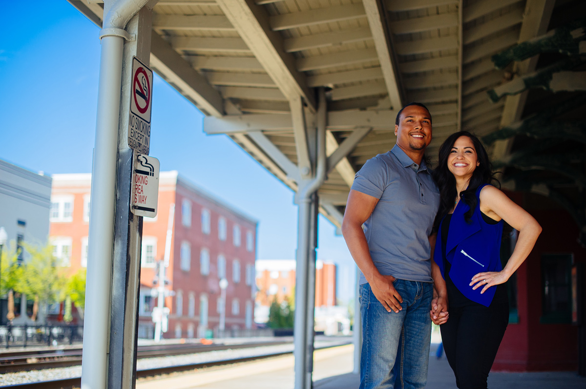 manassas virginia engagement pics at train station