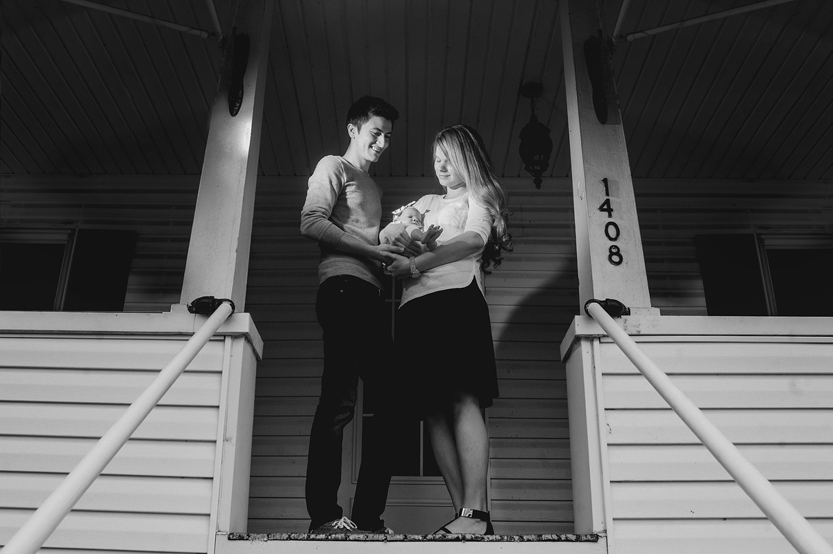 newborn photos in front of home
