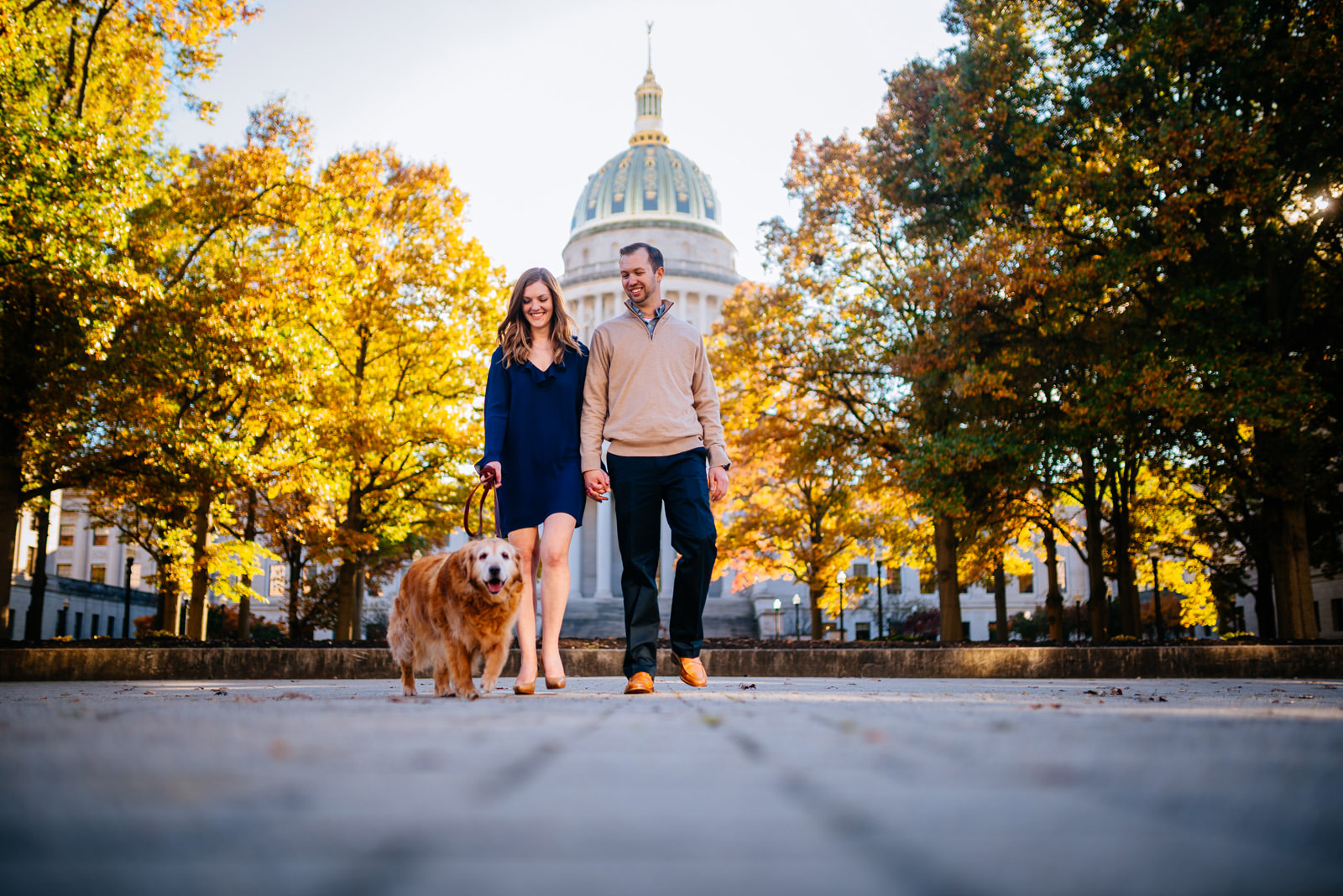 walking the dog fall charleston wv engagement photography