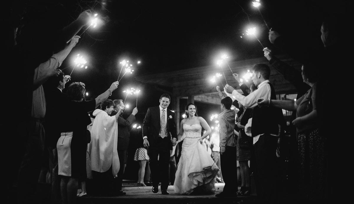 best photos of sparkler exit from wedding reception