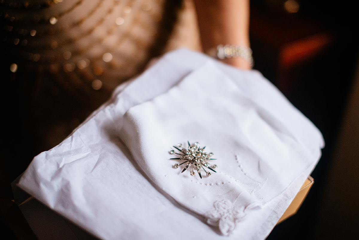 bride gifts to bridesmaids vintage brooch and hankerchief