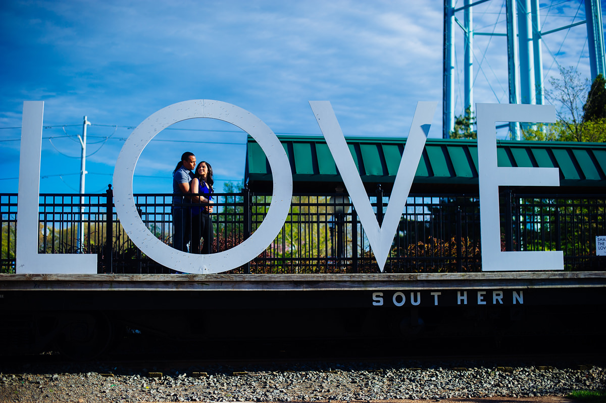 manassas virginia engagement photos with love sign