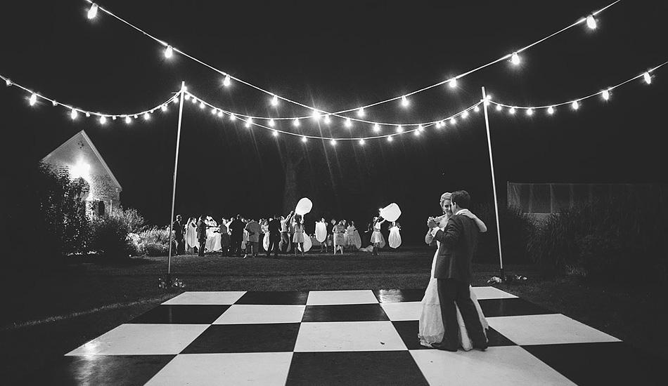 wedding reception bride and groom last dance with lanterns