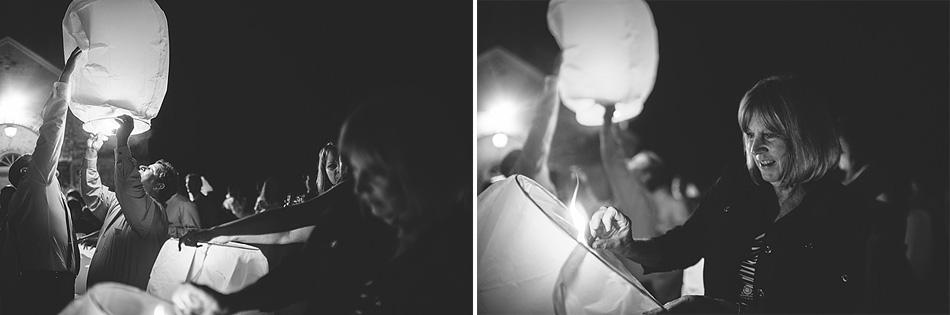 sky lanterns at wedding reception