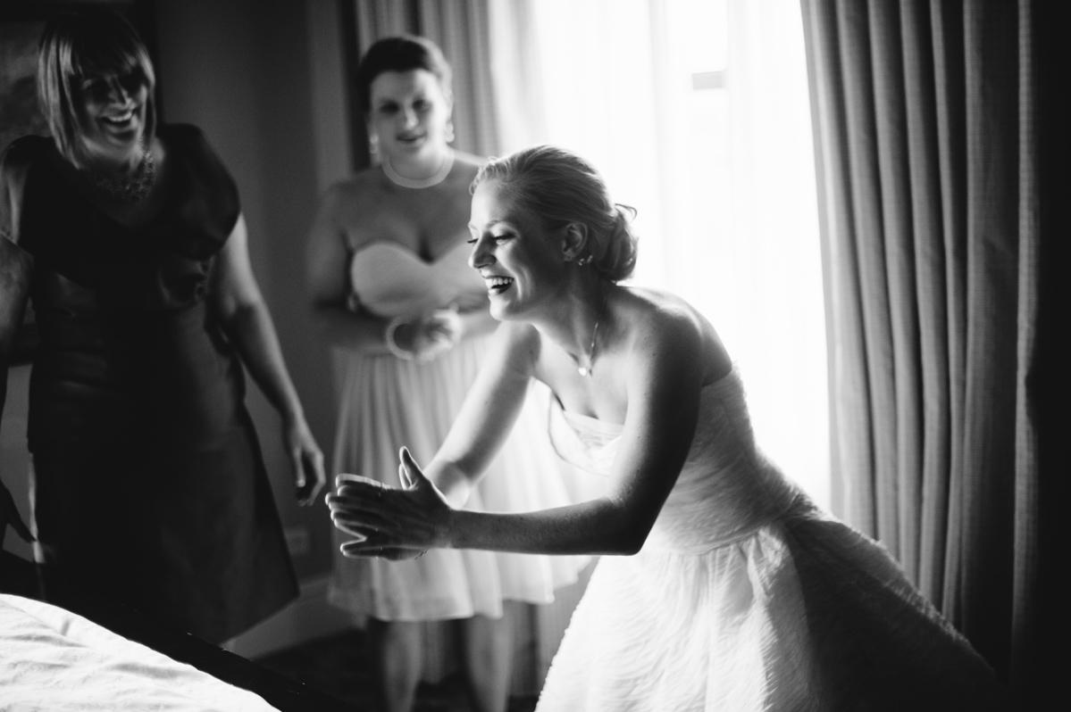 bride doing pushups