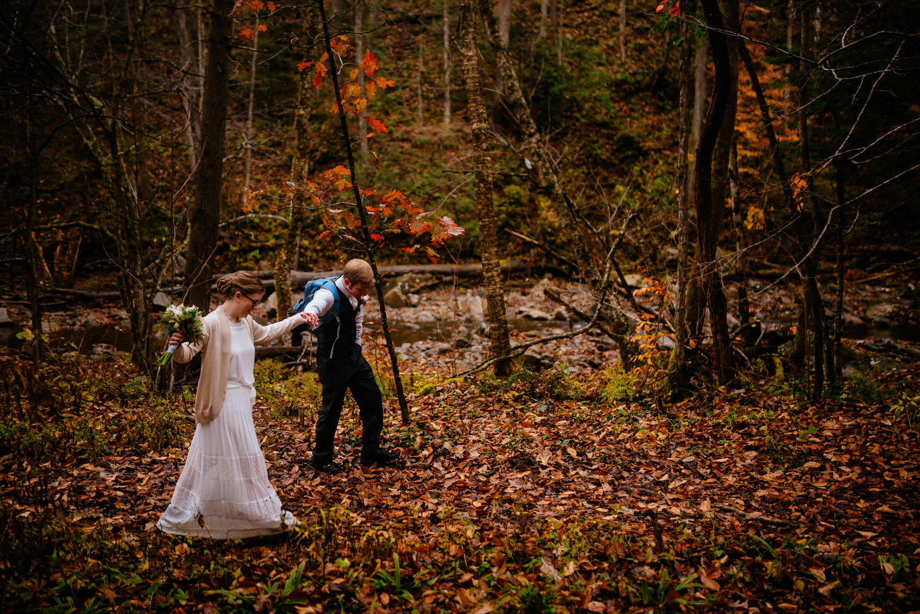 bride groom glade creek wv hiking elopement